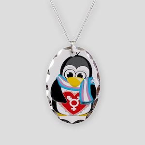 Transgender-Penguin-Scarf Necklace Oval Charm