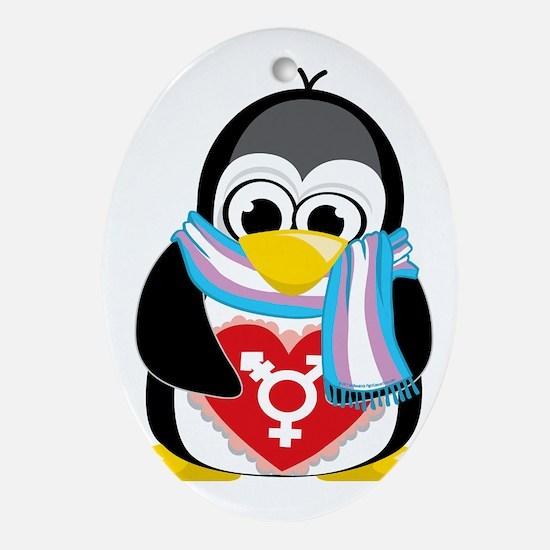 Transgender-Penguin-Scarf Oval Ornament