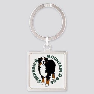 Standing Bernese Mountain Dog 02 Square Keychain