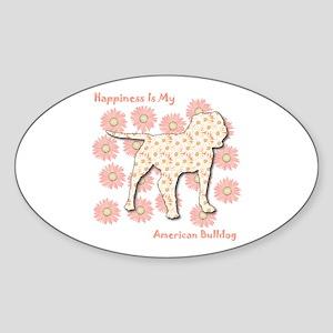 Bulldog Happiness Oval Sticker