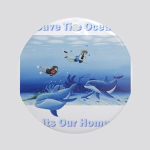 divers and dolphins for dark Round Ornament