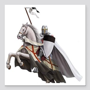 "templar on rearing horse Square Car Magnet 3"" x 3"""