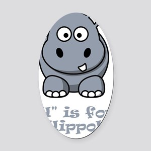 H is for Hippo Grey Oval Car Magnet