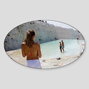 Tourists on travertine rocks, Pamuk Sticker (Oval)