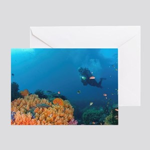 Diver with light inspects reef, Trit Greeting Card