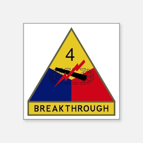 """4th Armored Division - Brea Square Sticker 3"""" x 3"""""""