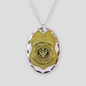 retired law enf officer Necklace Oval Charm
