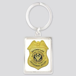 retired law enf officer Portrait Keychain