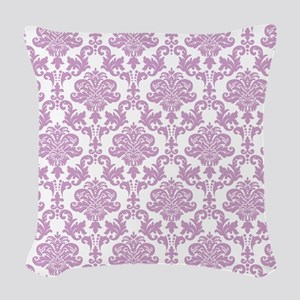 Purple Damask Woven Throw Pillow