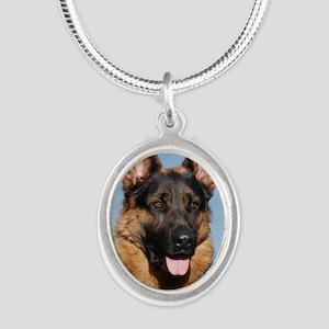 German Shepherd Dog 9Y554D-15 Silver Oval Necklace
