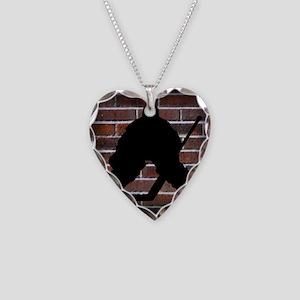 Hockie Goalie Brick Wall Necklace Heart Charm