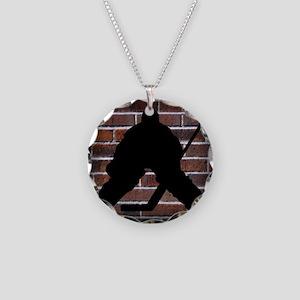 Hockie Goalie Brick Wall Necklace Circle Charm