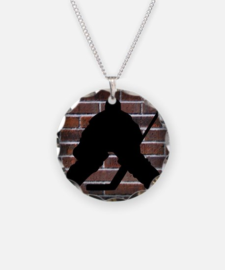 Hockie Goalie Brick Wall Necklace Circle Charm