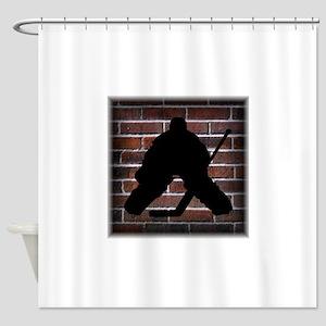 Hockie Goalie Brick Wall Shower Curtain