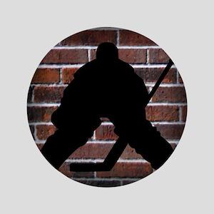 """Hockie Goalie Brick Wall 3.5"""" Button"""