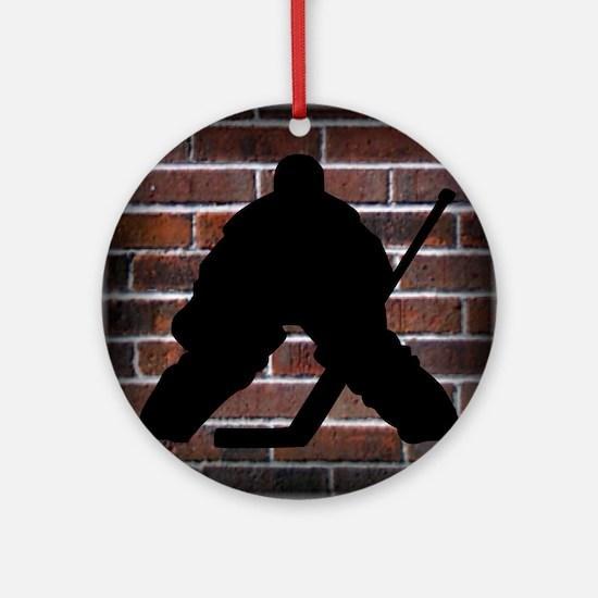 Hockie Goalie Brick Wall Round Ornament