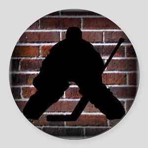 Hockie Goalie Brick Wall Round Car Magnet