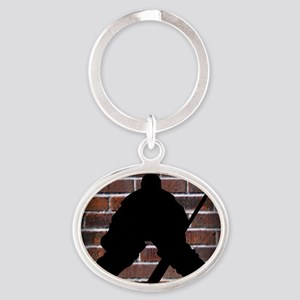 Hockie Goalie Brick Wall Oval Keychain