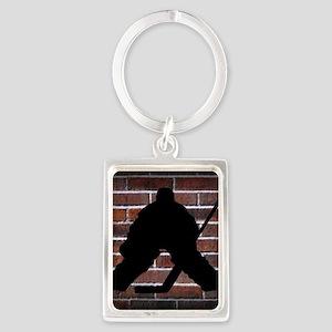 Hockie Goalie Brick Wall Portrait Keychain