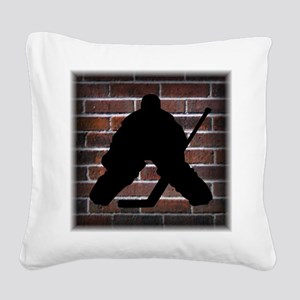 Hockie Goalie Brick Wall Square Canvas Pillow
