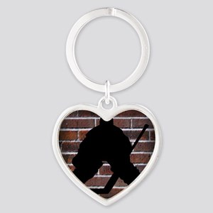 Hockie Goalie Brick Wall Heart Keychain