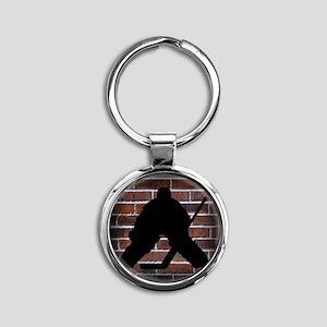 Hockie Goalie Brick Wall Round Keychain