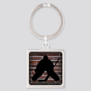 Hockie Goalie Brick Wall Square Keychain