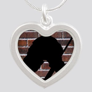 Hockie Goalie Brick Wall Silver Heart Necklace