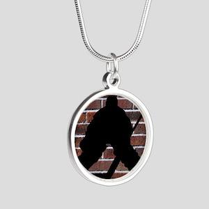 Hockie Goalie Brick Wall Silver Round Necklace
