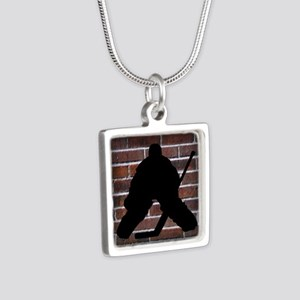 Hockie Goalie Brick Wall Silver Square Necklace