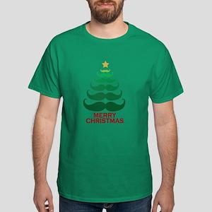 Moustache Christmas Tree Dark T-Shirt