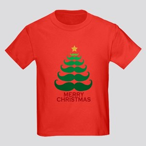 Moustache Christmas Tree Kids Dark T-Shirt