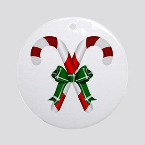 Christmas Candy Cane With Bows Ornament (Round)