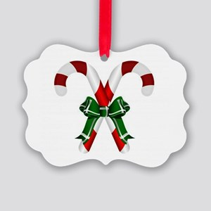 Christmas Candy Cane With Bows Ornament