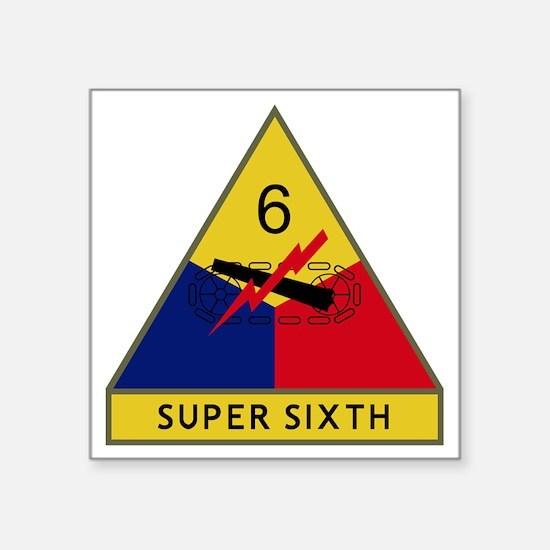 """6th Armored Division - Supe Square Sticker 3"""" x 3"""""""