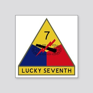 """7th Armored Division - Luck Square Sticker 3"""" x 3"""""""