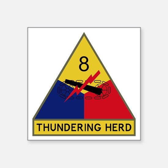 """8th Armored Division - Thun Square Sticker 3"""" x 3"""""""