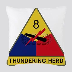 8th Armored Division - Thunder Woven Throw Pillow