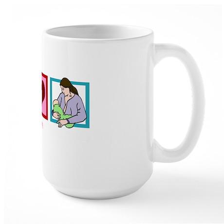 peacelovebreastfeedingwh Large Mug