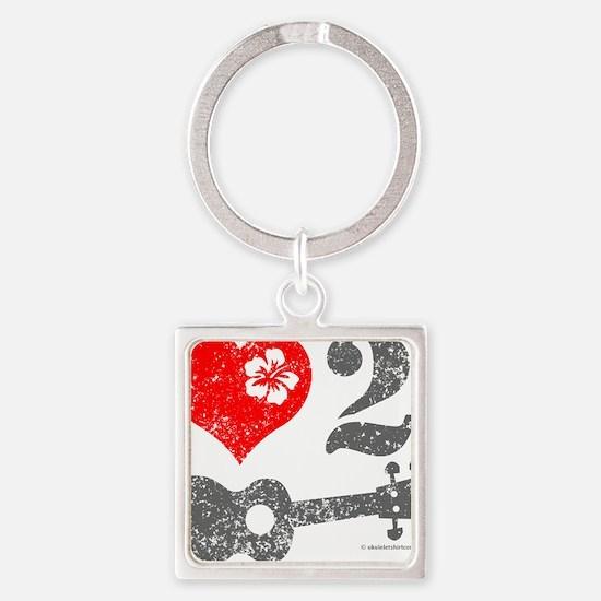 Love 2 Ukulele Square Keychain