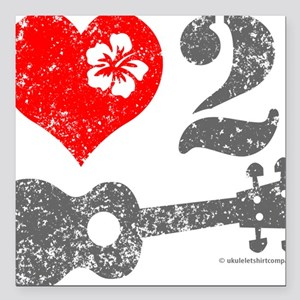 "Love 2 Ukulele Square Car Magnet 3"" x 3"""