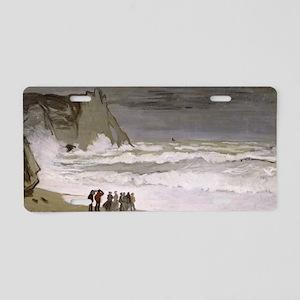 Rough Sea at Etretat, by Cl Aluminum License Plate
