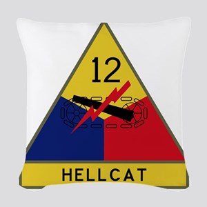12th Armored Division - Hellca Woven Throw Pillow