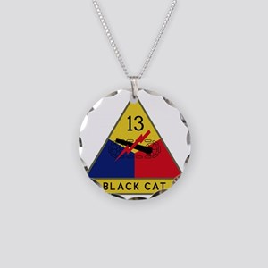 13th Armored Division - Blac Necklace Circle Charm