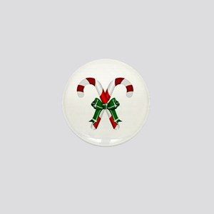 Christmas Candy Cane With Bows Mini Button