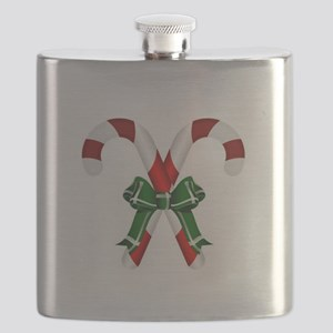 Christmas Candy Cane With Bows Flask