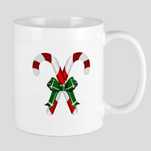 Christmas Candy Cane With Bows Mugs