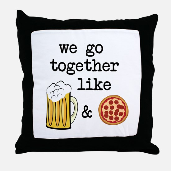Beer and Pizza Throw Pillow