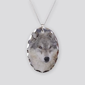 ms  Wolf Necklace Oval Charm