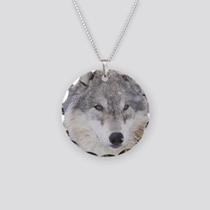 ms  Wolf Necklace Circle Charm